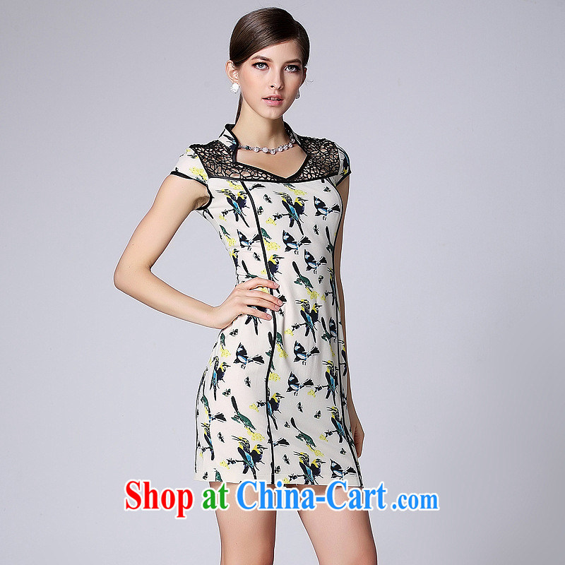 Summer 2014 new improved fashion cheongsam dress short-sleeved Openwork no's cheongsam Shenzhen factory wholesale picture color XXL