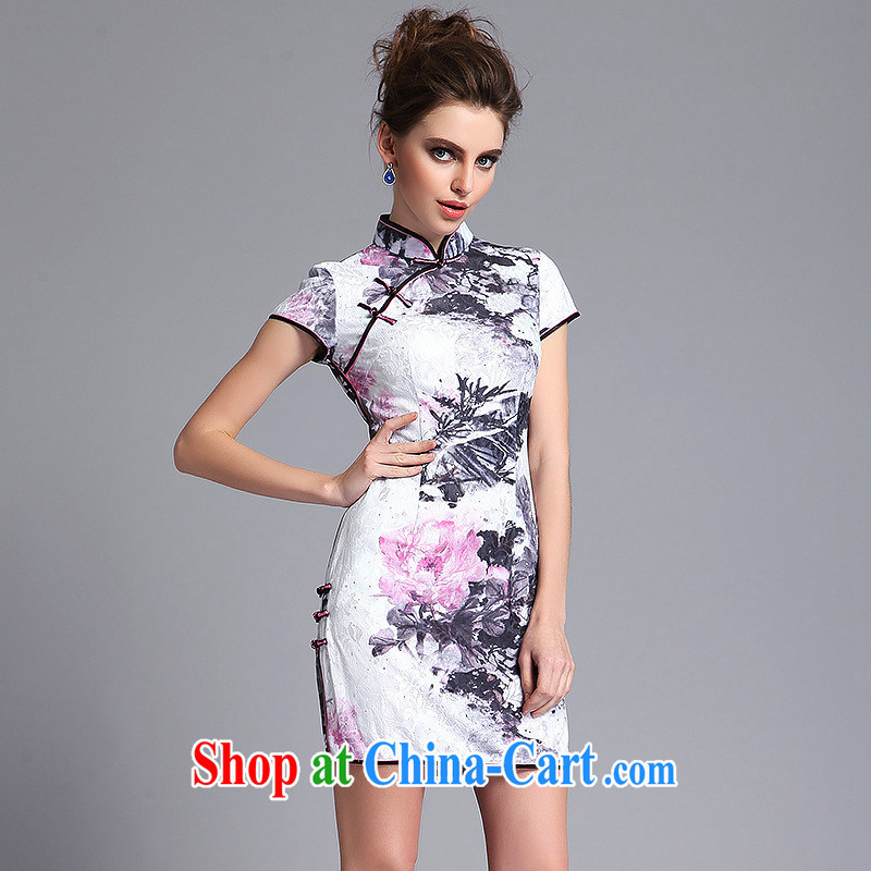 Summer 2014 new lace composite, nostalgic retro-'s short cheongsam QF 140,211 picture color XXL