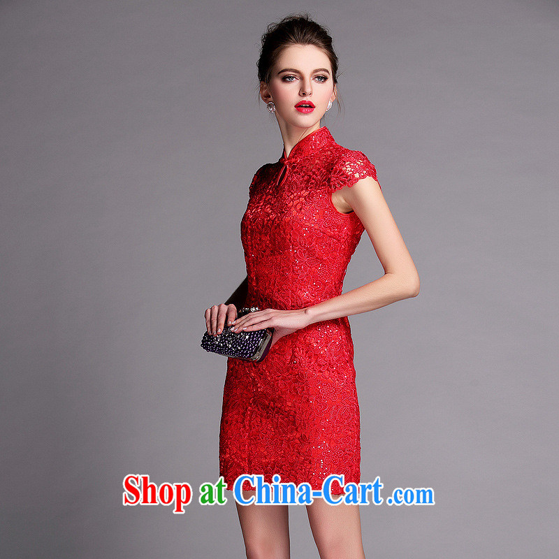 National wind 2014 new summer improved stylish beauty language empty water-soluble, dresses wedding dresses QF 140,502 red XXL