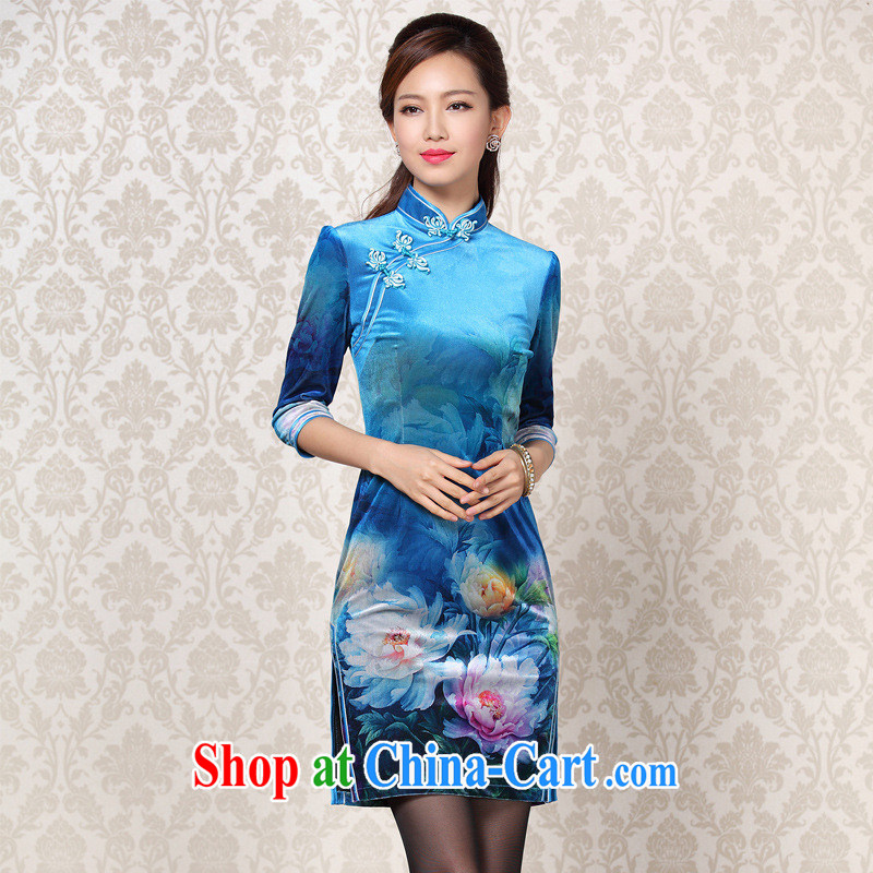 2013 fall and winter new improved Stylish retro wool stamp duty cuff in daily short cheongsam Shenzhen factory wholesale Lake blue XXXL