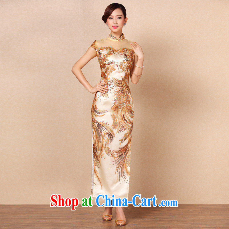 2013 new, improved and stylish high-power's heavy industry embroidery long cheongsam banquet toast serving Shenzhen factory wholesale Po blue XXL