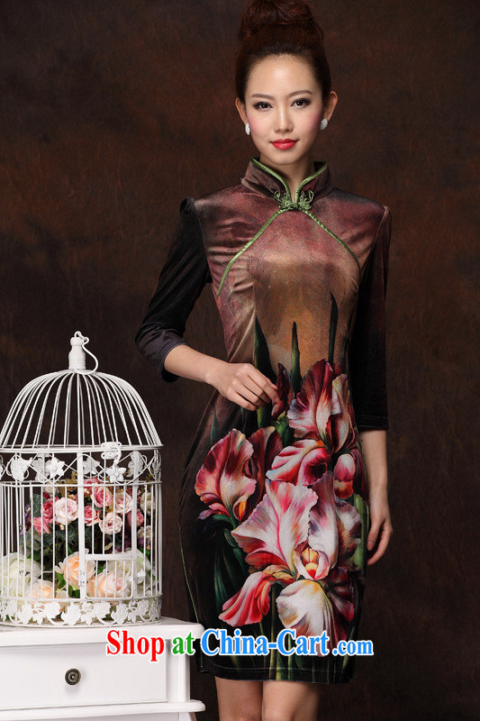 The 2013 can also spring, improved Stylish retro wool long cheongsam qipao as shown S
