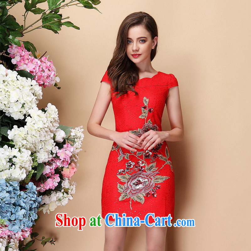 2014 spring and summer new stylish and improved short-sleeved lace, embroidery cheongsam dress ShenZhen Factory wholesale red XXL
