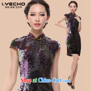 2013 spring and summer new dresses, SHENZHEN FACTORY wholesale improved stylish silk retro large code MOM cheongsam dress picture color XXXXL