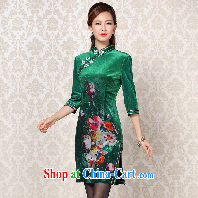 2013 new improved Stylish retro wool stamp double-flap in short sleeves cheongsam/Shenzhen factory Wholesale/mixed lot jade green XXXL