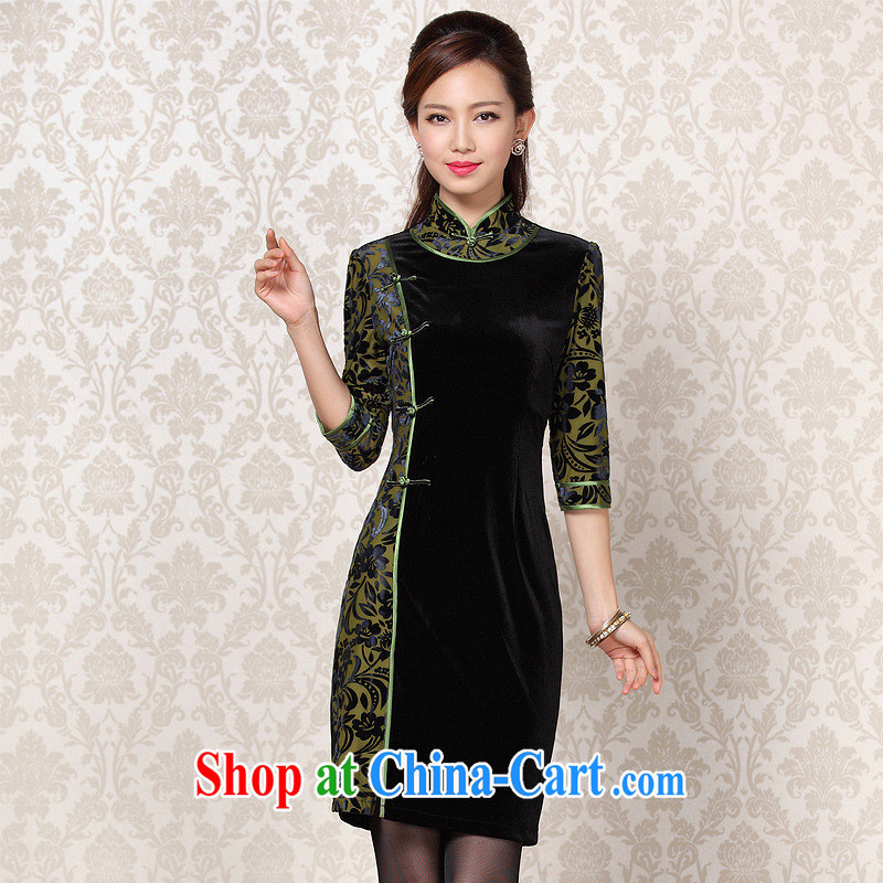 2013 fall/winter new improved Stylish retro wool stitching in short sleeves cheongsam Shenzhen Wholesale/mixed batch picture color XXL