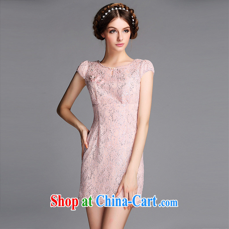 Summer 2014 new improved fashion round for the Pearl lace Openwork is not the Lao short cheongsam QF 140,605 pink XXL