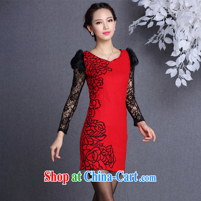 2013 fall/winter new, improved and stylish rabbit hair cuff is gross Body Short cheongsam Shenzhen factory batch/lot/batch mix red XXL