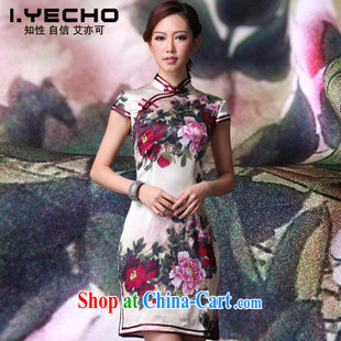 2014 new summer heavy Silk Cheongsam improved Stylish retro upscale cheongsam dress factory short-sleeve female figure XXXL
