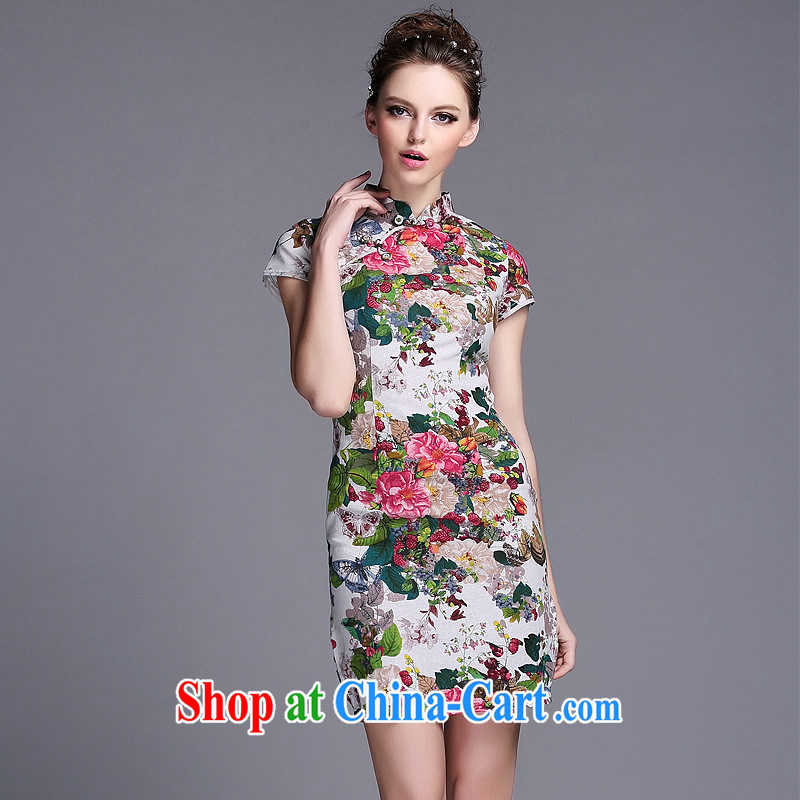 Summer 2014 new linen ink stamp-Korea Lao wind short cheongsam manufacturer wholesale QF 140,530 picture color XXL