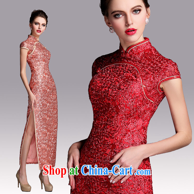 2014 new improved fashion industry beauty banquet long dresses wedding dress toast QF serving 140,507 gold L