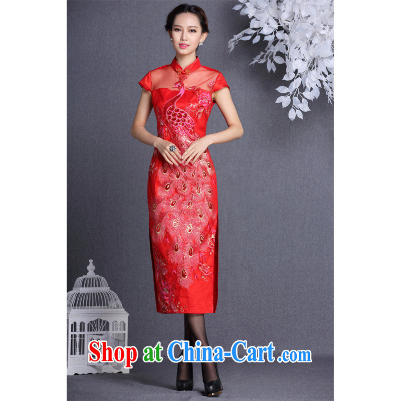 Fall/Winter new improved stylish Web yarn embroidery, banquet long cheongsam Shenzhen factory wholesale/mixed batch red XXL