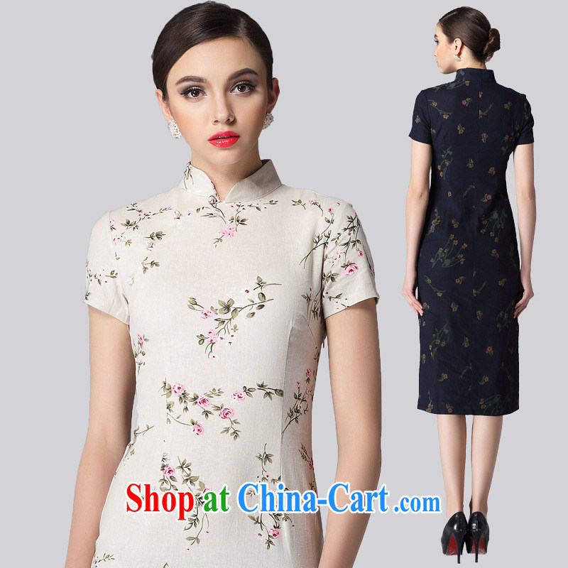 Retro linen long cheongsam stylish improved daily short-sleeved cheongsam dress Korea Chinese summer 2014 new pale XXL
