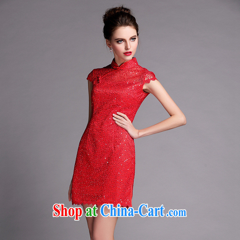 2014 new improved modern languages empty water-soluble, short dresses red wedding dress toast QF serving 140,506 red XXL