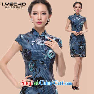 HIV can also be summer 2013 new retro Chinese improved stylish Silk Cheongsam dress factory produces blue M