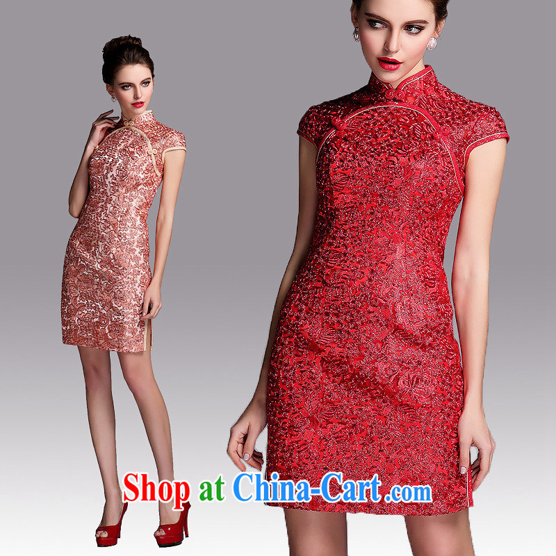 2014 new banquet cheongsam dress QF 140,503 red XXL