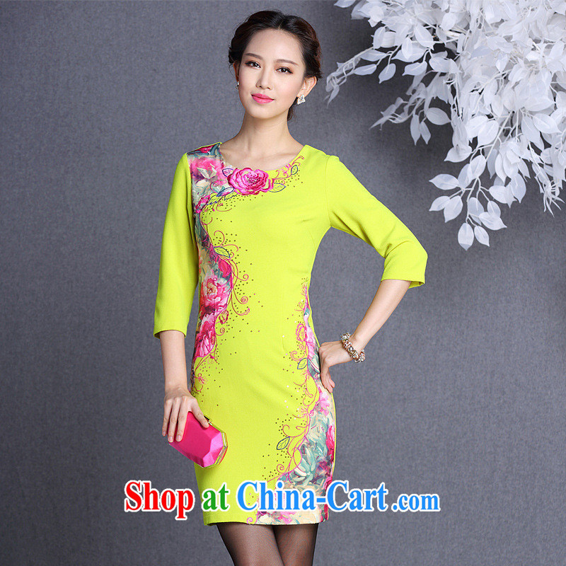2013 fall_winter new improved stylish stereo embroidered long-sleeved daily short cheongsam dress Shenzhen factory wholesale exotic lime yellow XXL