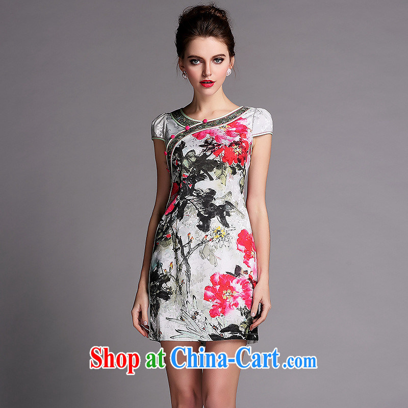 Summer 2014 new women with improved modern Korea wind cheongsam dress QF 140,509 picture color XXL
