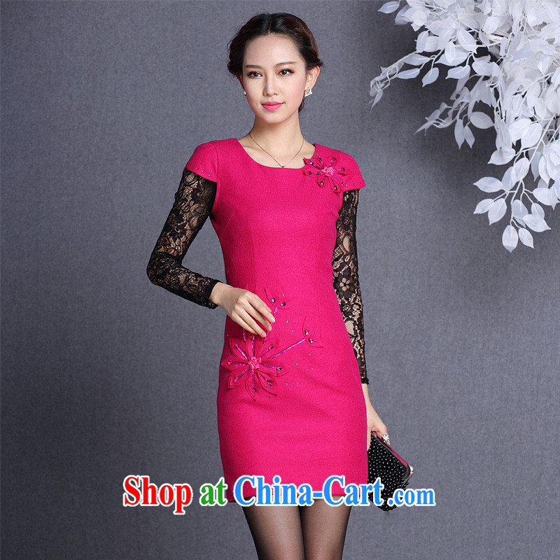 2013 fall_winter new improved fashion that three-dimensional take short cheongsam Shenzhen factory Wholesale_mixed lot of red XXL