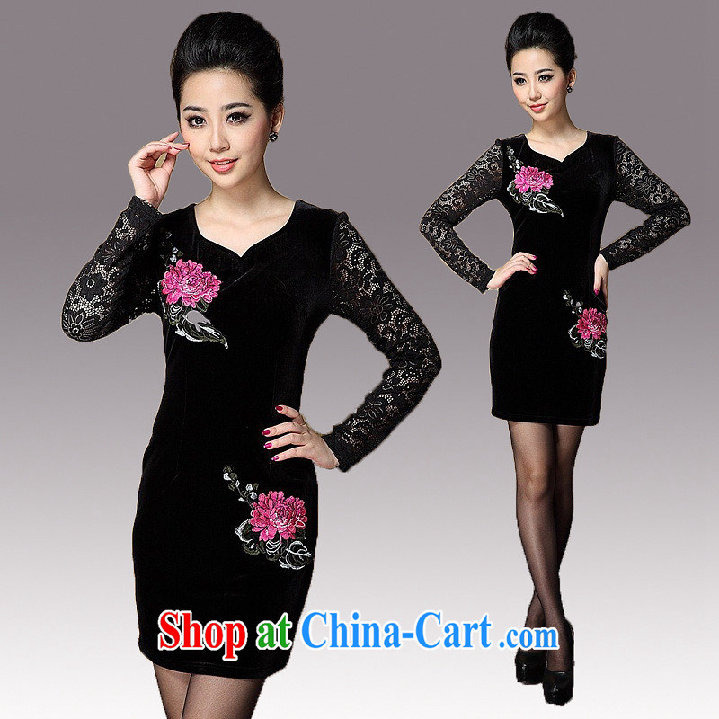 2014 spring new female lace stitching wool improved temperament cheongsam long-sleeved three-dimensional embroidery cheongsam dress black XXXL