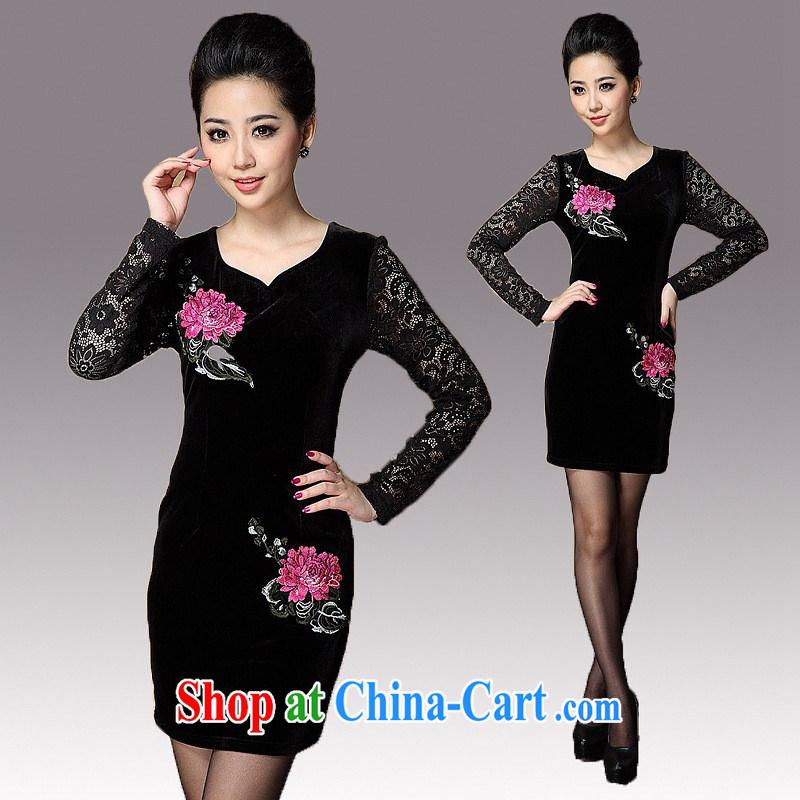 2014 spring new female lace stitching wool improved temperament cheongsam long-sleeved three-dimensional embroidery cheongsam dress black XXXL