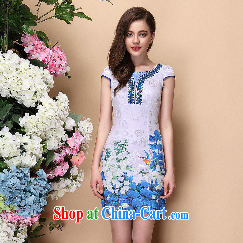 2014 spring and summer new improved stylish short-sleeve the beads do not open's elegant qipao dress Shenzhen factory wholesale blue XXL