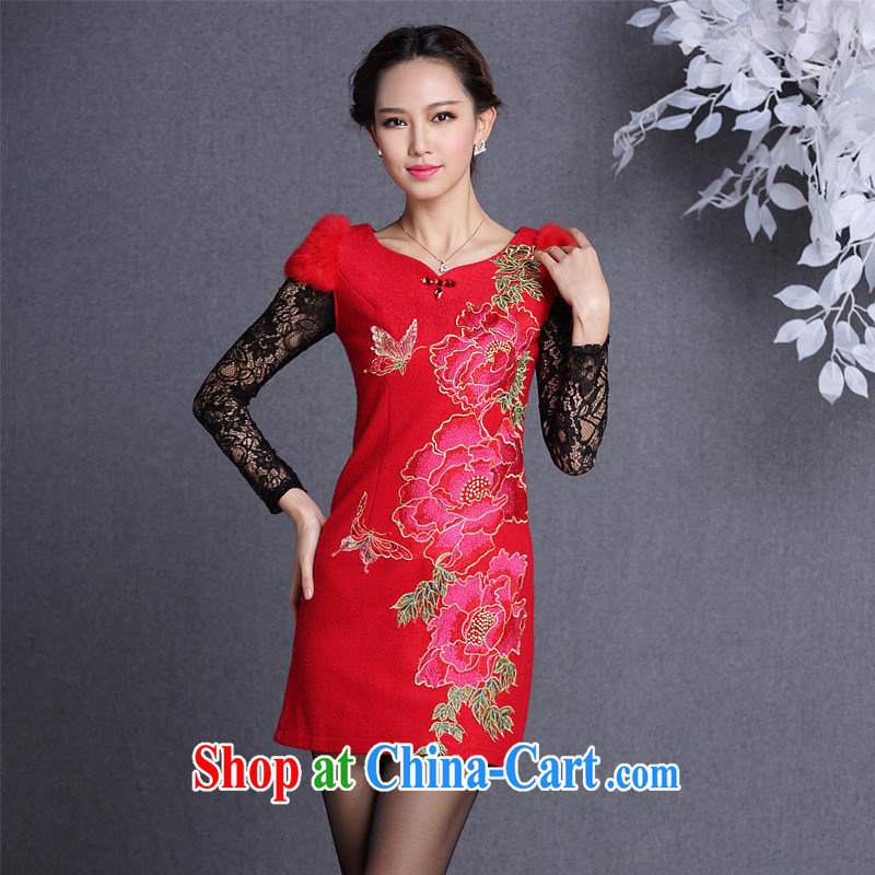 Fall/Winter new improved stylish Beauty and Hair shoulder embroidered hair is short cheongsam Shenzhen factory batch/lot/batch Mixing Black XXL