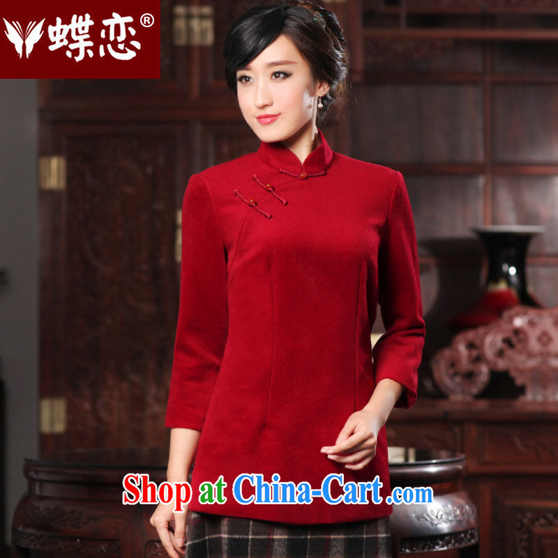 Butterfly Lovers 2015 spring new China wind improved stylish dresses T-shirt wool? Chinese T-shirt Ms. 49,092 wine red XL