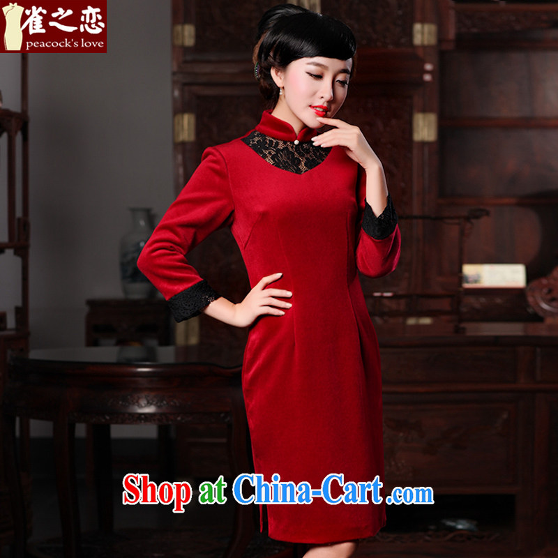 Birds love Fang Fei country 2015 spring new improved stylish long-sleeved wool? red cheongsam QC 590 red XXL - pre-sale 20 day shipping