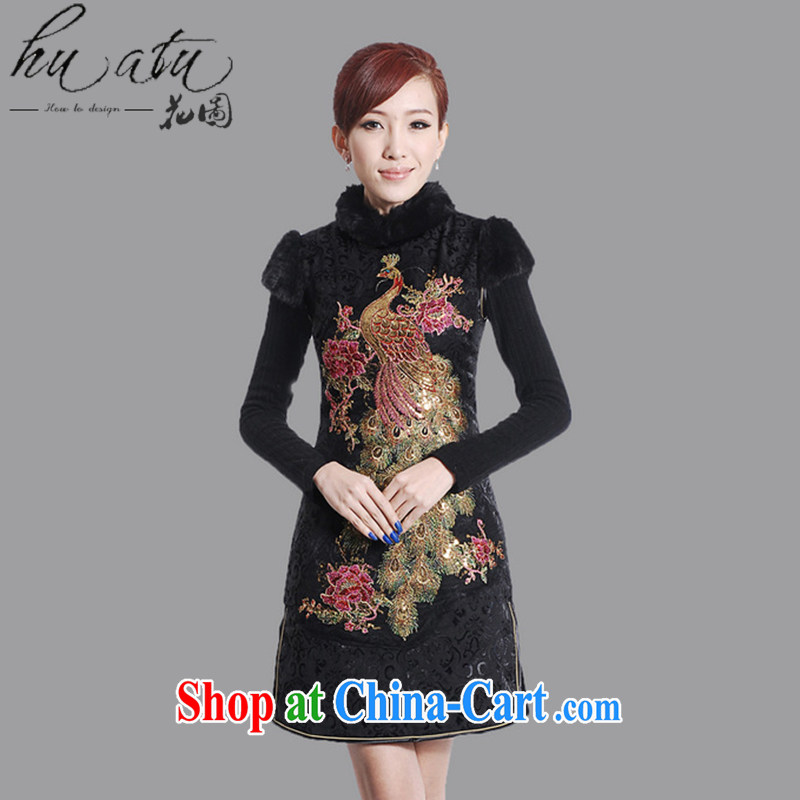 spend the winter clothes New Tang Women's clothes for the peacock embroidery cheongsam Chinese improved cotton winter short cheongsam - A black 2 XL