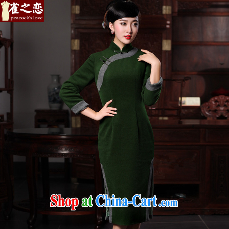 Birds love the river cloud 2015 spring new improved stylish wool in it long, Ms. daily outfit dark green XXXL
