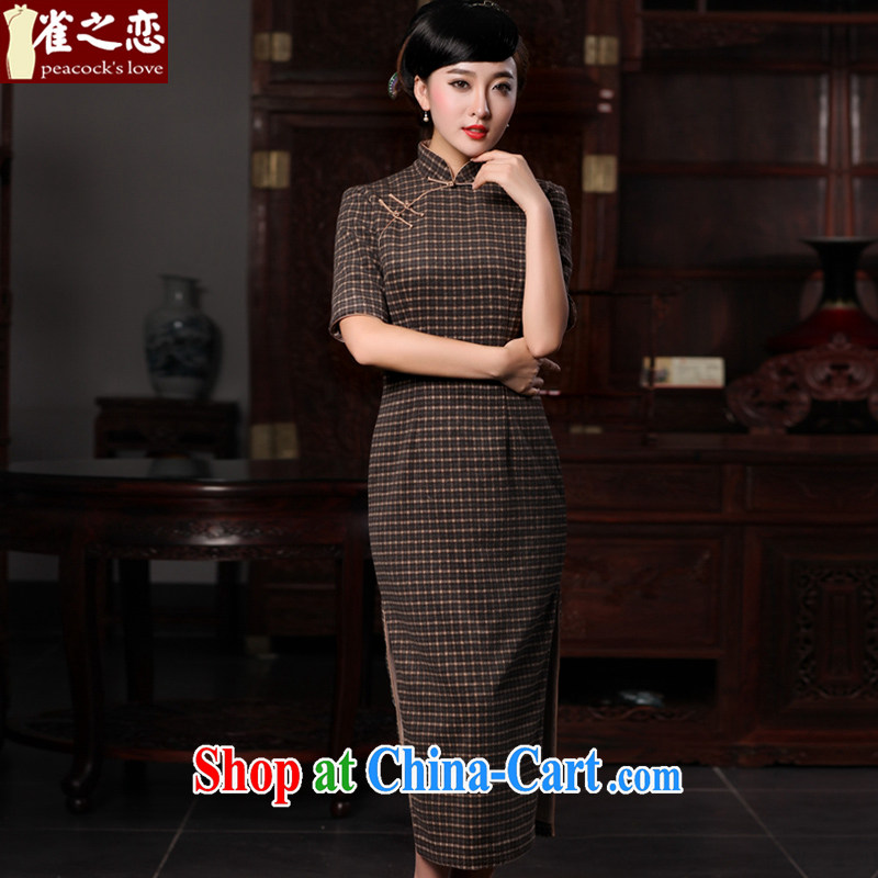 Bird lovers of Evian water retreat center 2015 spring loaded new retro checkered hair beauty is long cheongsam QC 592 plaid XXL