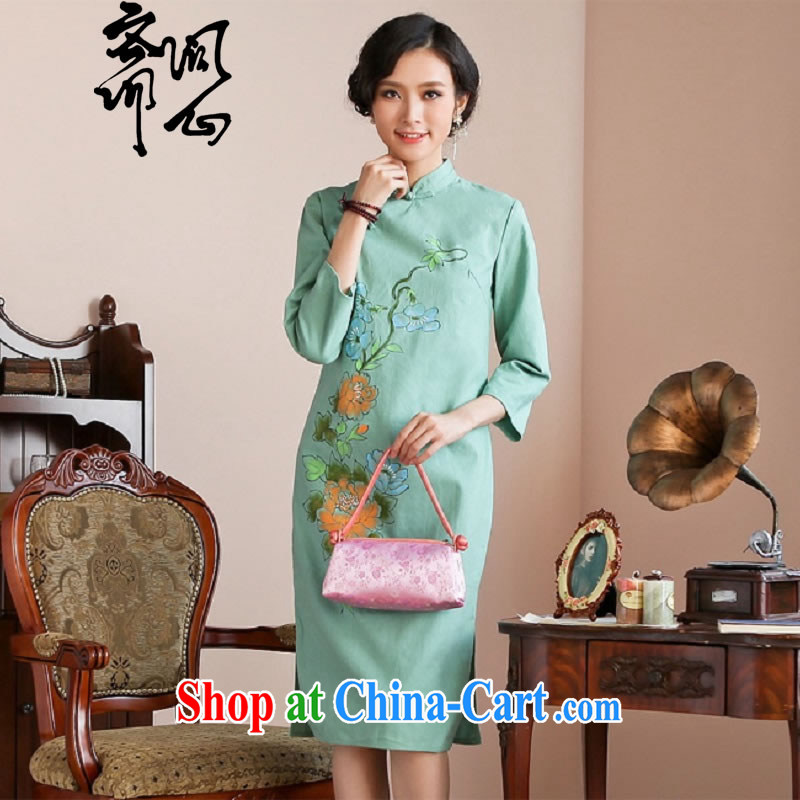 q heart Id al-Fitr autumn new dresses, for hand-painted, long dresses fall and winter dress winter dress WXZ 1198 green XL code, ask a vegetarian, shopping on the Internet