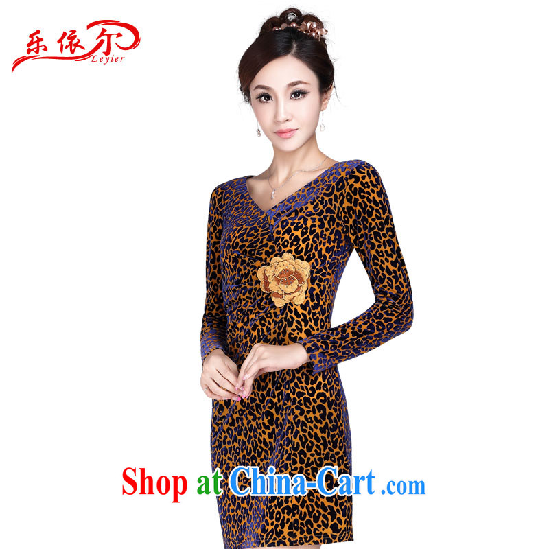 And, in accordance with girls long-sleeved velvet cheongsam dress antique Chinese Embroidery cheongsam dress LYE 1349 Leopard XXL