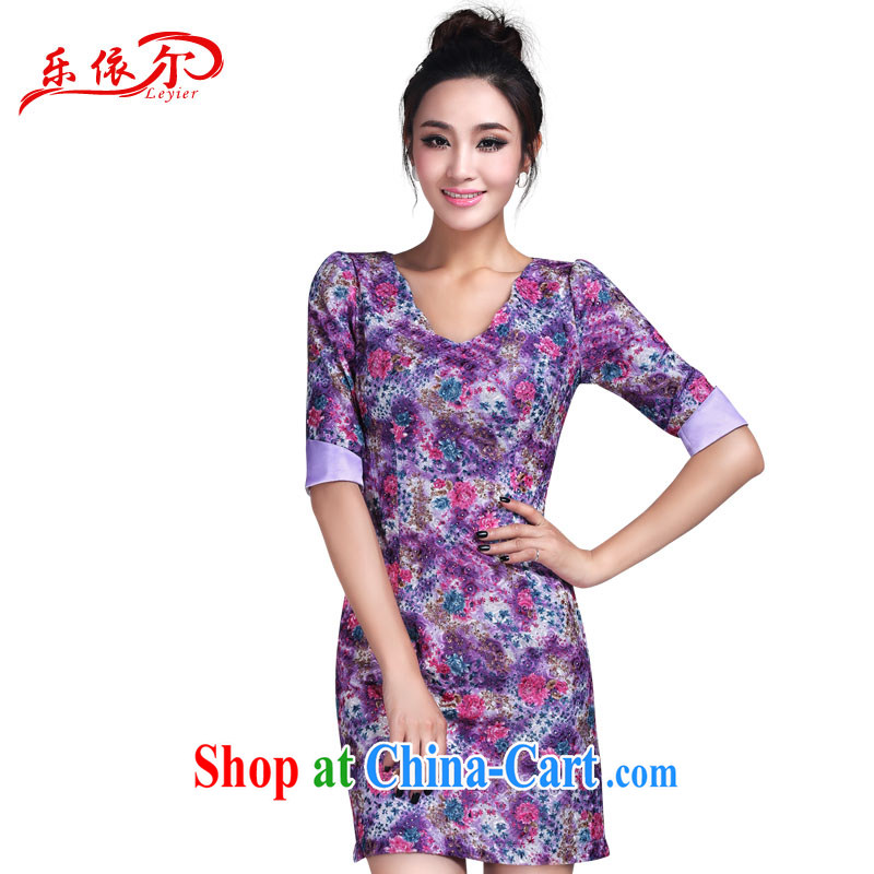 And, in accordance with modern short-sleeved dresses and elegant floral personalized lady thin cheongsam dress LYE 1382 purple XXL