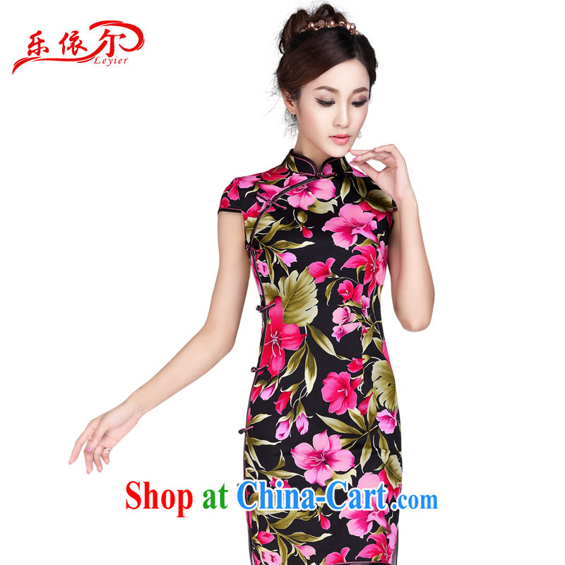 And, according to summer dress up for retro dresses skirt elegant qipao improved daily retro beauty graphics thin cheongsam dress LYE 7013 black XXL