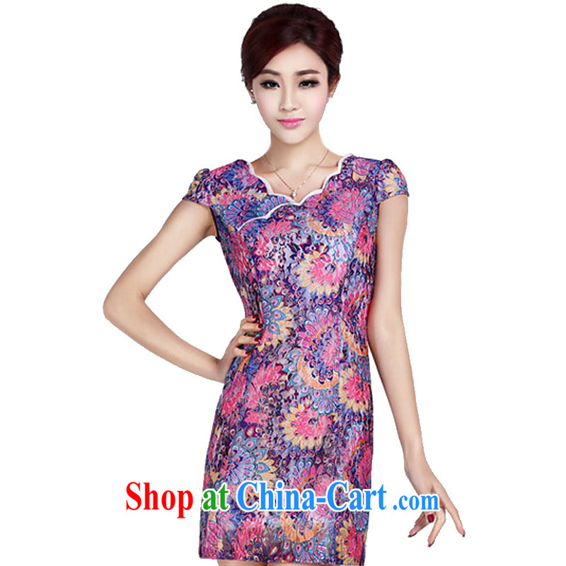 And, according to summer dress short sleeve cheongsam girls elegant classical lady everyday dresses short, elegant dresses LYE 1370 purple L