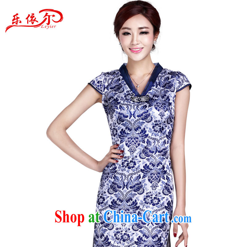 And, according to summer female daily retro dresses blue and white porcelain antique Ethnic Wind improved cheongsam dress LYE 9014 blue XXL