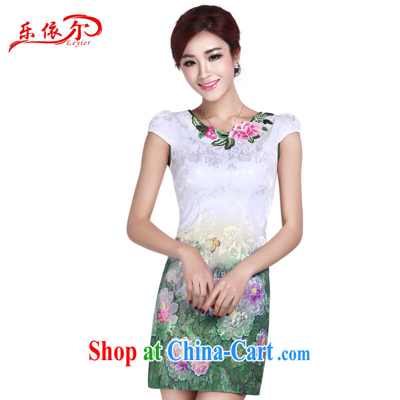 And, according to summer dress cheongsam elegant embroidered dresses cheongsam dress Women Fashion sexy retro beauty, long dresses LYE 1401 white M