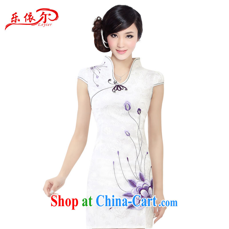 And, according to Ms. cheongsam embroidered beauty improved short-sleeved dresses retro landscape girl cheongsam dress LYE 1301 white XL
