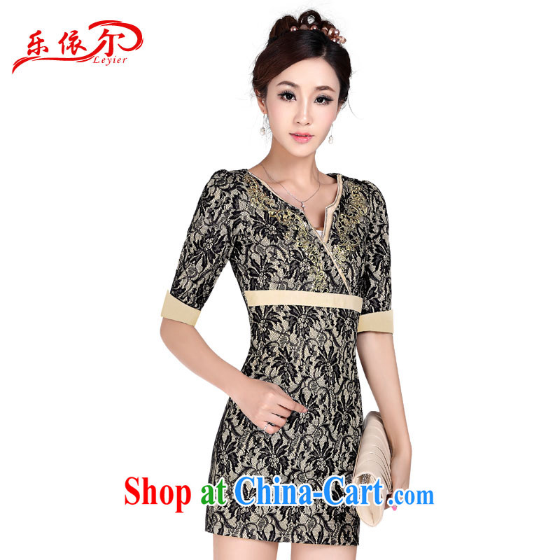 And in autumn and winter, Ms. cuff antique dresses sexy and elegant embroidery cheongsam lace female, qipao LYE 1377 apricot XXL