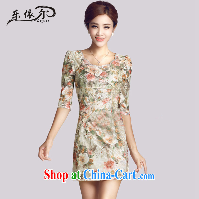 And, in accordance with the cuff antique cheongsam dress Choo, female daily Chinese improved cheongsam dress female LYE 66,623 saffron XL