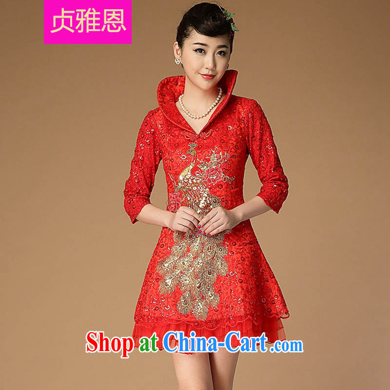 Jung-eun New Women In cheongsam Chinese antique Chinese Yuan cheating sanding disc-beads, decorated dresses Y 7666 red L