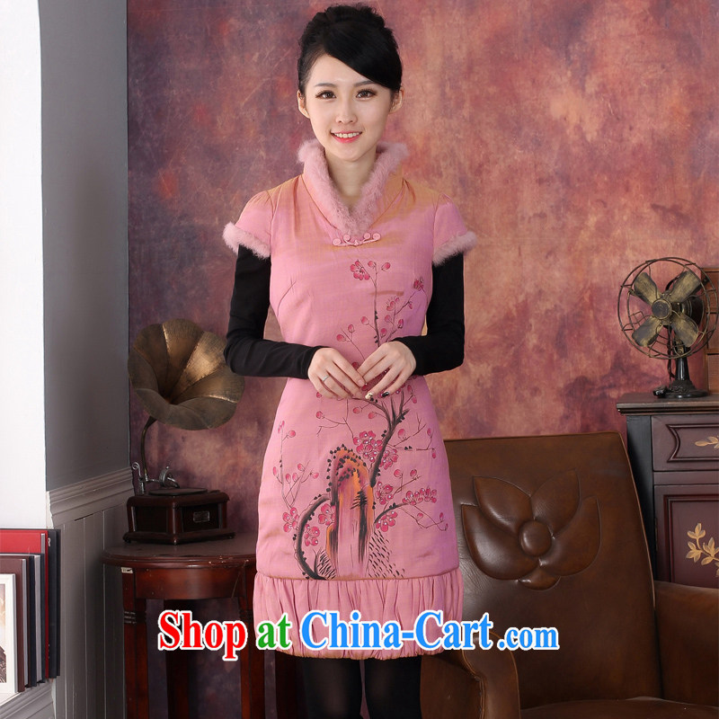 2014 winter clothes New Original Design quilted short cheongsam to three-dimensional embroidery warm outfit Beauty Package Mail 344,606 orange M