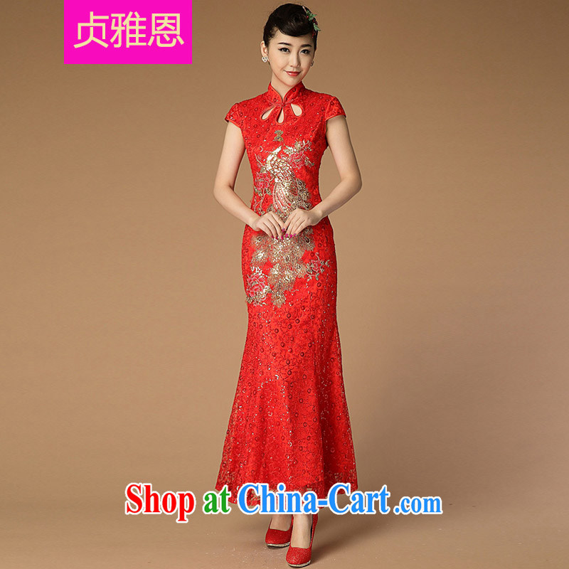 Jung-eun-new, genuine female long cheongsam Chinese Ethnic Wind classical to the Openwork Lace Embroidery beauty dresses Y 3399 red L