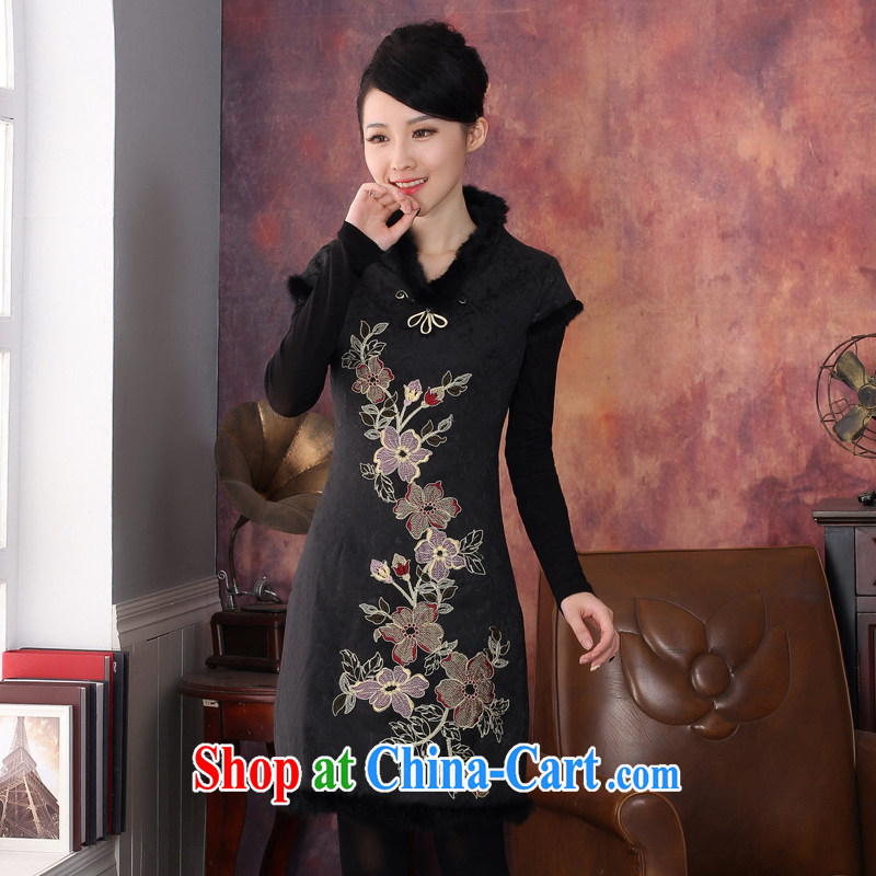Oriental elite 2014 autumn and winter dresses short-sleeved folder cotton dress warm jacket package mail 344,612 XL