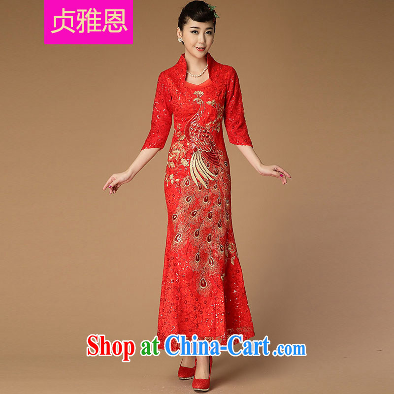 Jung-eun-new, genuine female long cheongsam Chinese Ethnic Wind classical to the Openwork Lace Embroidery beauty dresses Y 9488 red L