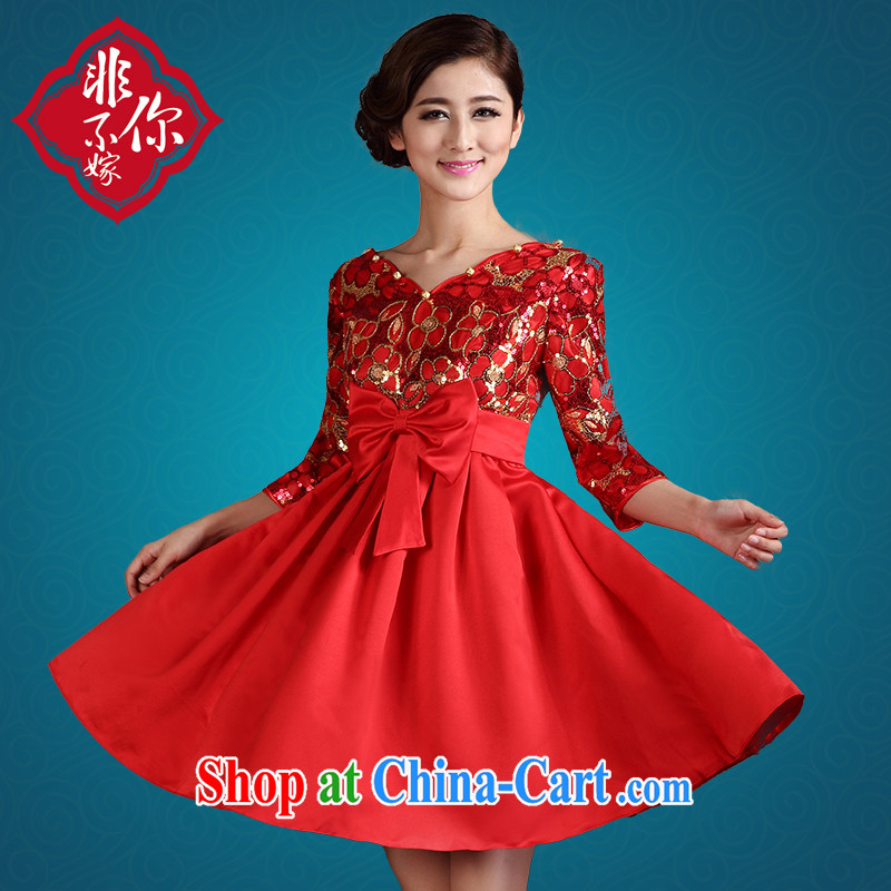 Non-you don't marry 2014 spring and summer wedding dress bridal red toast serving short, large, thick MM pregnant women cheongsam dress 2XL