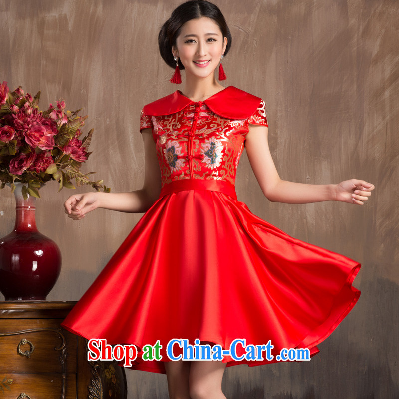 Non-you don't marry summer new bridal dresses wedding toast serving Chinese improved short-sleeved style red dress short skirt L