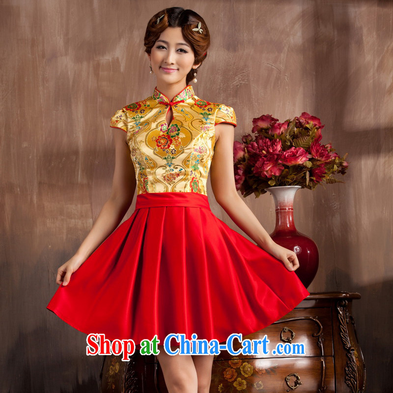 Non-you don't marry 2014 spring and summer new, improved cheongsam stylish brides with wedding dresses short-sleeved, red 2 XL